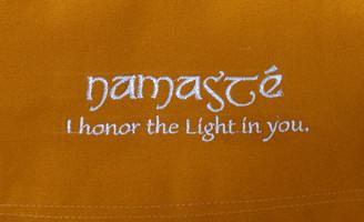 Boon Decor Dharma Messenger Bag - 100percent Cotton Canvas Dharma Supply Carry Bag - Gold Namaste
