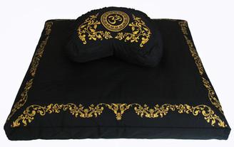 Boon Decor Meditation Cushion Set Crescent Zafu Pillow and Zabuton Om in Lotus SEE COLORS