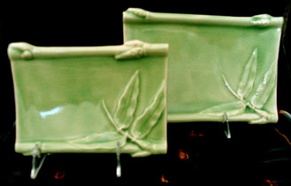 Boon Decor Celadon Sushi or Desert Plate - Bamboo Design 6 x 9 Set of Two