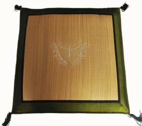 Boon Decor Tatami Zabuton Floor Mat - Embroidered Butterfly - Silk Green Trim 21x21x1