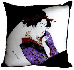 Boon Decor Throw Pillow - Japanese Silk Furoshiki Lady in Lavender Kimono