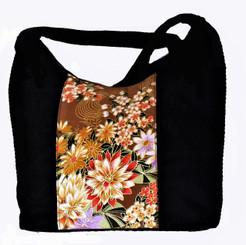 Boon Decor Handbag Japanese Silk Kimono Print Fabric Peony and Sakura One of a Kind