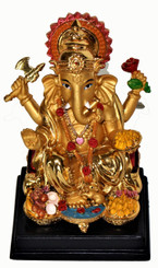 Boon Decor Ganesh with Sweet Offerings Painted Resin 4.25 high