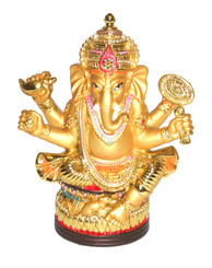 Boon Decor Ganesh Holding Attributes Painted Resin 5 high