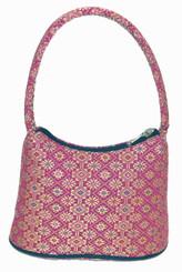 Boon Decor Handbags- Brocade Thai Silk Handbag - Pink-Jewel Brocade