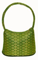 Boon Decor Handbags- Brocade Thai Silk Green w/Gold Brocade Handbag