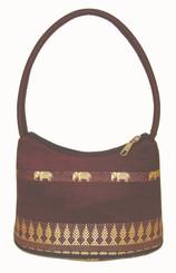 Boon Decor Handbags- Brocade Thai Silk Burgundy w/Elephants