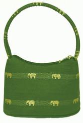 Boon Decor Handbags- Brocade Thai Silk Handbag - DkGreen w/Gold Elephants