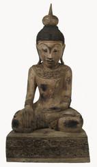 Boon Decor One of a Kind Carved Buddha - Bhumisarsha Mudra Gesture - Burmese Style