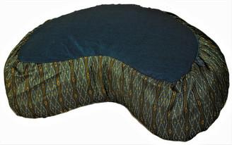 Boon Decor Crescent Meditation Cushion Buckwheat Zafu Global Weave Teal