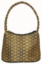 Boon Decor Handbags- Brocade Thai Silk Handbag - Black w/Gold Brocade