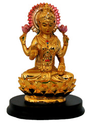 Boon Decor Lakshimi Figurine On Golden Lotus w/Black Base - Painted Resin 4