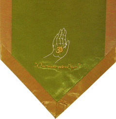 Boon Decor Altar Cloth Or Wall Hanging - Embroidered - Om Blessing Buddhas Hand - Green/Gold