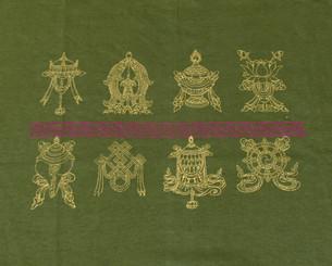 T-Shirts with Sacred Symbols, Women: Woman Tee Shirt - Eight Auspicious Symbol - Olive