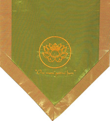Boon Decor Altar Cloth Or Wall Hanging - Embroidered - Om Lotus Green - Om Mani Padme Hum