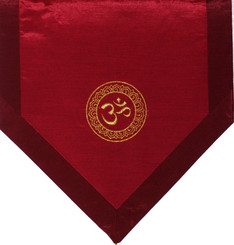 Boon Decor Altar Cloth Or Wall Hangings - Embroidered - Om in Lotus Wheel Iridescent Red