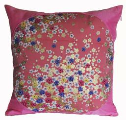 Boon Decor Silk Throw Pillow - Japanese Kimono Silk Pink SEE BOTH SIDES