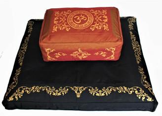Boon Decor Meditation Cushion Set Rectangular Zafu Black Zabuton - Saffron SEE CHOICES