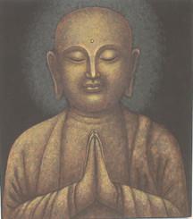 Boon Decor Jizo Monk Praying Original Painting - Protector of Children 14 X 16