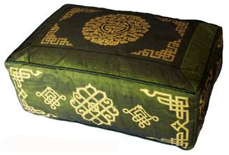 Boon Decor Rectangular Meditation Cushion Buckwheat Kapok Fill Longevity Olive Green