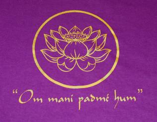 T-Shirts with Sacred Symbols, Women: Woman Tee Shirt - Purple Lotus w/Om mani padmi hum