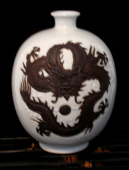 Boon Decor Dragon Vase - White Celadon Crackle Glaze 9 High