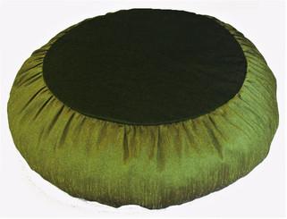Boon Decor Meditation Cushion Zafu - Rain Silk Fabric Olive Green