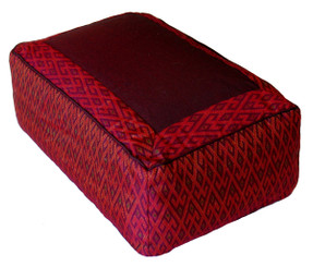 Boon Decor Meditation Cushion Rectangular Zafu - Ikat Burgundy 12x 8x 8 high