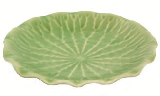 Boon Decor Ikebana Bowls, Celadon Ikebana Bowl Under Dish - Celadon Lotus Leaf - 6.5 Diameter