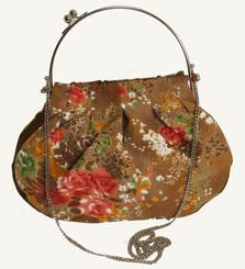 Boon Decor Handbag - Japanese Silk Kimono - Large Golden Brown Floral