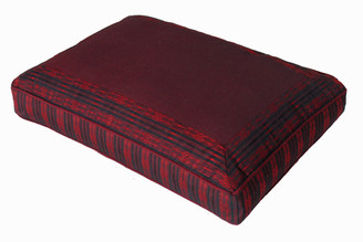 Boon Decor Meditation Pillow - Low Rise Sitting Cushion - Global Weave Burgundy SEE PATTERNS