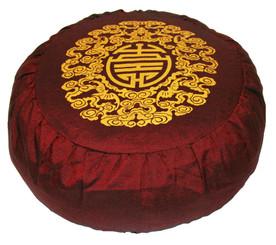 Boon Decor Japanese Zafu Pillow Buckwheat Meditation Cushion Longevity Burgundy