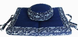 Boon Decor Meditation Cushion Set Folding/ Travel Zabuton Zafu Pillow - Woodblock Print Cranes