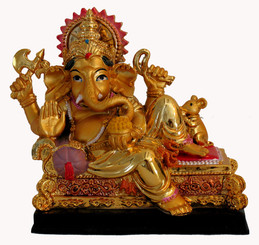 Boon Decor Reclining Ganesh - 4.5 H x 4.5 L Painted Resin
