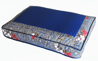 Boon Decor Meditation Cushion Rectangular Zafu - Blue Indochine Print