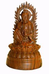 Boon Decor Quan Yin Figurine - Sitting on Lotus - 5.75 Wood Grain Resin