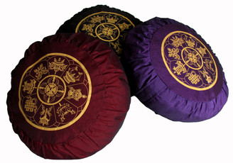 Boon Decor Meditation Cushion Zafu Pillow Buckwheat Fill Eight Auspicious Symbols SEE COLORS