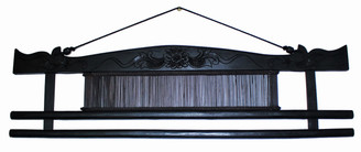Boon Decor Fabric/Runner Hanger - 31.5 Hand Carved Teak Wood with Antique Loom Shuttle