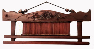 Boon Decor Fabric/Runner Hanger 17.75 Carved Teak Wood With Antique Loom Shuttle