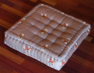 Meditation Floor Pillow - Sitting Cushion - Limited Edition - Floral - Beige