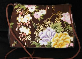Boon Decor Shoulder Bag - Japanese Kimono Silk Purse Brown Peony