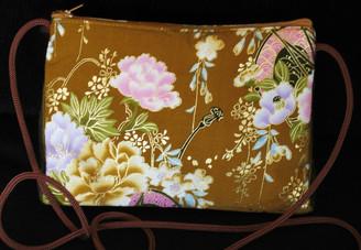 Boon Decor Shoulder Bag - Japanese Kimono Silk Purse Golden Brown Peony
