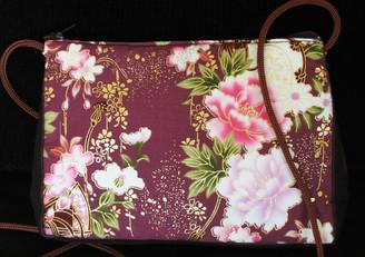 Boon Decor Shoulder Bag - Japanese Kimono Silk Purse - Taupe Peony