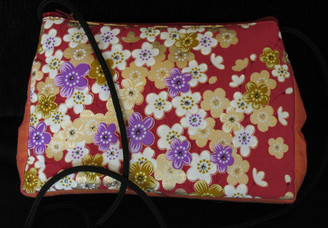 Boon Decor Shoulder Bag - Japanese Kimono Silk Purse - Dusky Rose Sakura
