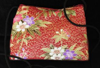 Boon Decor Shoulder Bag - Japanese Kimono Silk Purse Peach