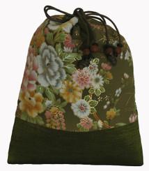 Boon Decor Japanese Silk Print Accessory Bags Silk Bag - Green Floral Print