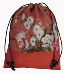 Boon Decor Japanese Silk Print Accessory Bags Silk Bag - Peach Floral Print