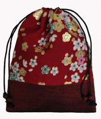 Boon Decor Japanese Silk Print Accessory Bags Silk Bag - Red Floral Print