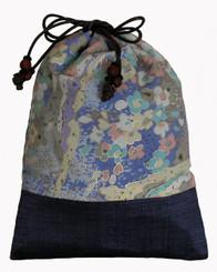 Boon Decor Japanese Silk Mala / Accessory Bag Turquoise/Blue Floral Print