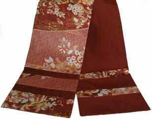Boon Decor Table Runner Wall Hanging Reversible Japanese Kimono Silk Print Copper Brown 96x14